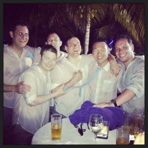 Groomsmen after pool